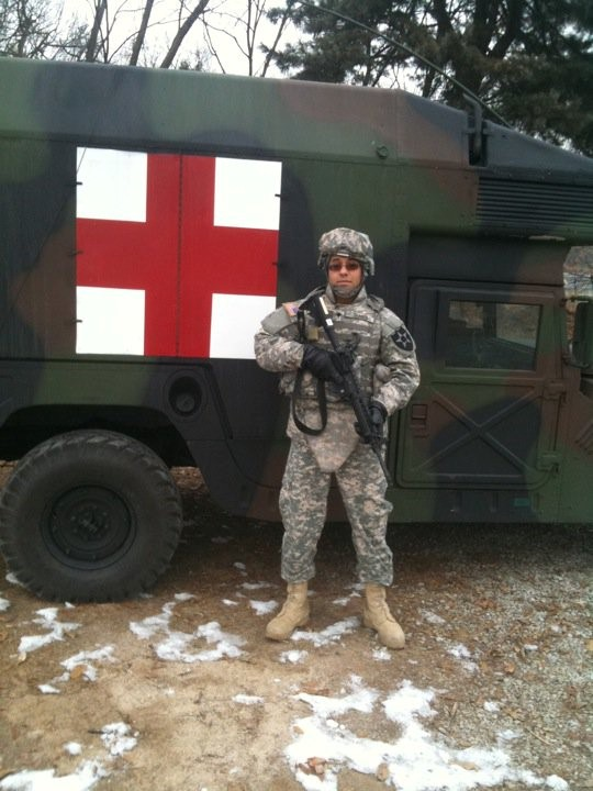 Maran Shaker during active duty as a combat medic for the U.S. Army