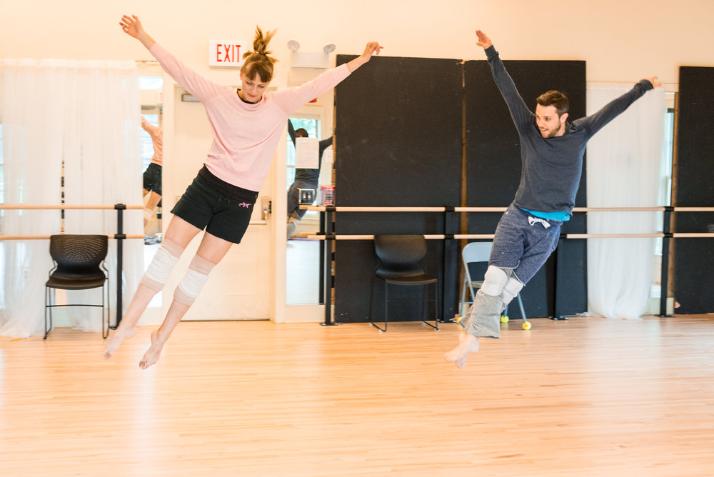 Mary Cavett and Anthony Johnson rehearse  Here In The Bright Colorado Sun  Photo credit - Isaak Berliner/Eugene O'Neill Theater Center 2017