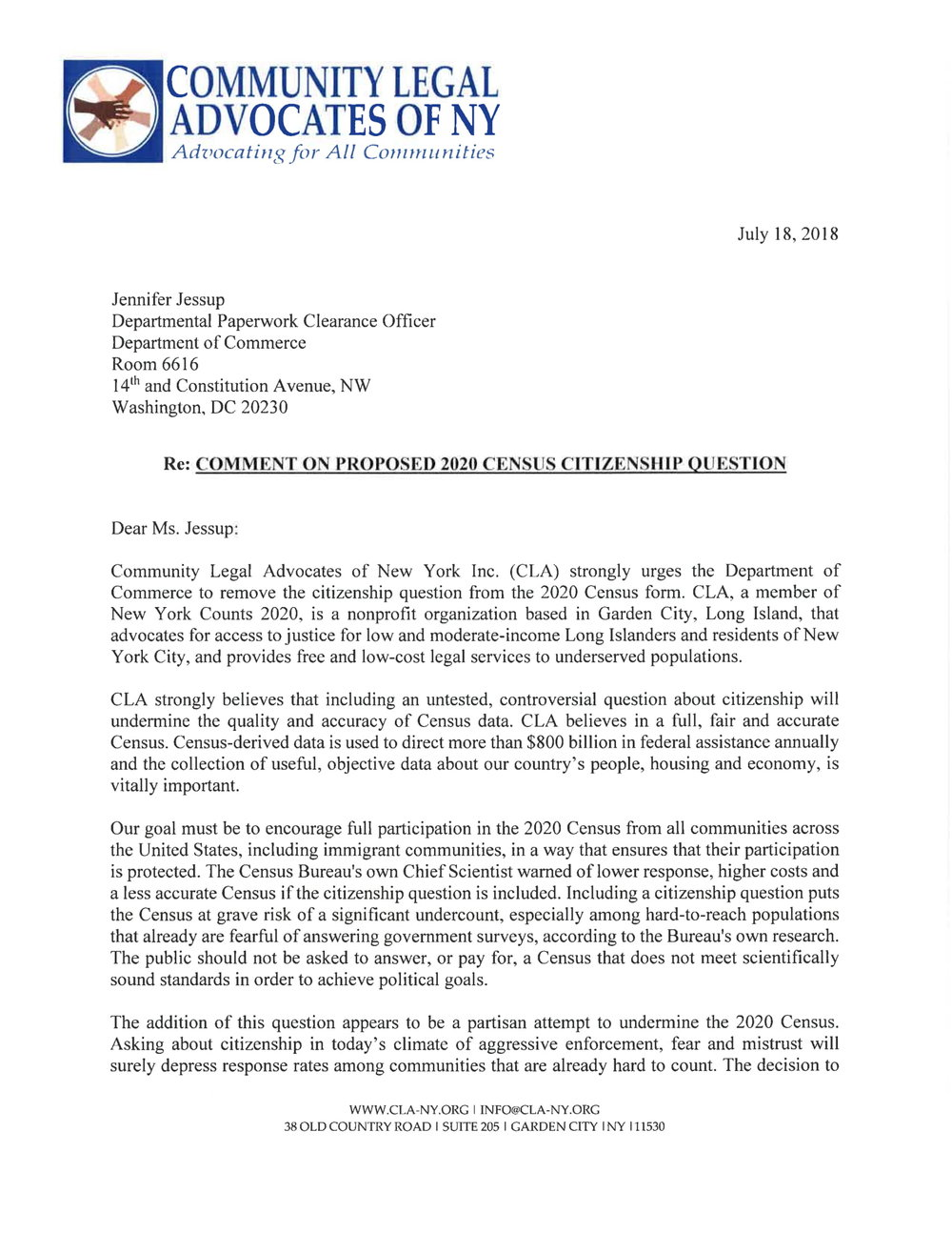 Letter to Dept of Commernce re 2020 Census 7-18-18-1.jpg