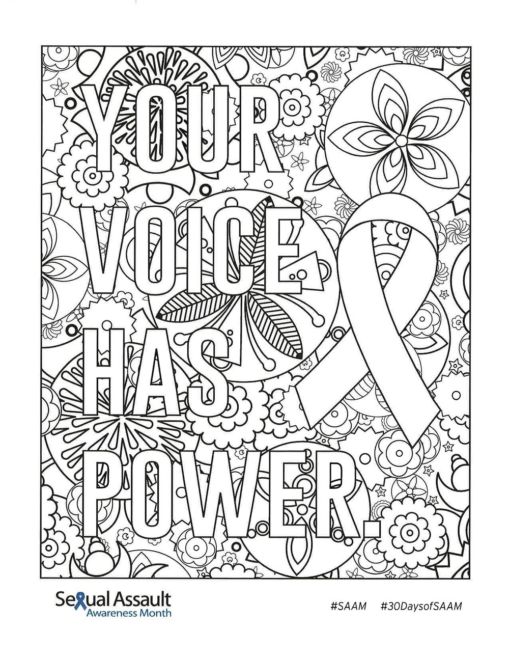 "Sexual Assault Awareness Month Coloring Contest - Individuals from the area participated in an online coloring contest through Facebook. Once submissions closed, all of the entries were posted to our DVAC Facebook page for voting. Each ""like"" counted as a vote. The entry with the most likes won!"