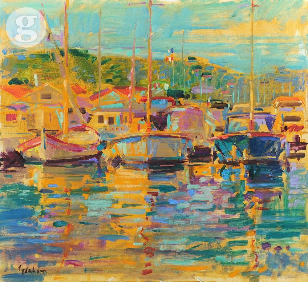 St Tropez Boats 71x76cm -oil
