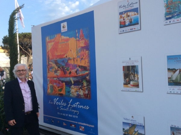 My new painting  Port Promenade, St Tropez -  the official image of the regatta -  displayed throughout the famous port.