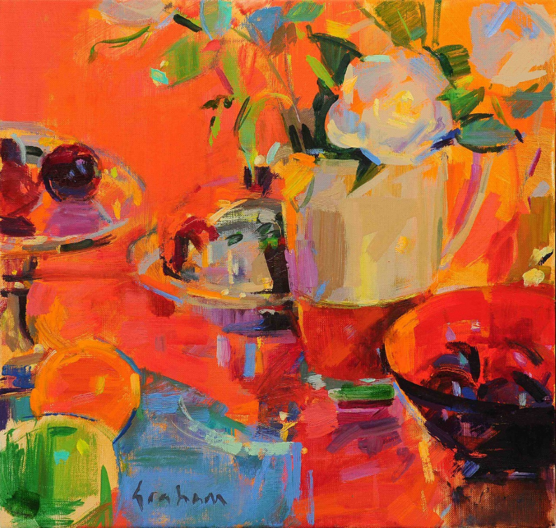 Compotier with Silver and Fruits - 40x 40 cm - oil on canvas