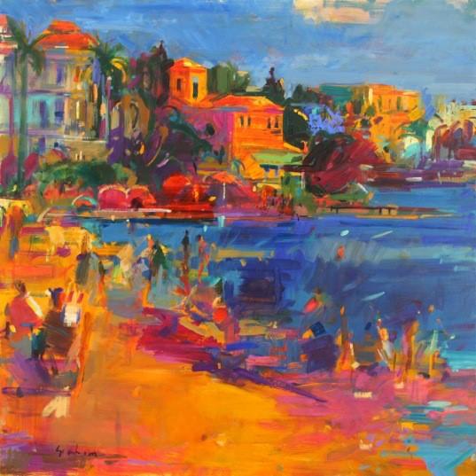 Juan les Pins 91 x 91 cm - oil