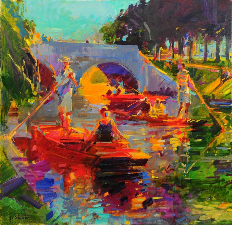 Swallows and Amazons , Cambridge Style 90 x 90cm oil by Peter Graham, ROI    Member of The Royal Institute of Oil Painters