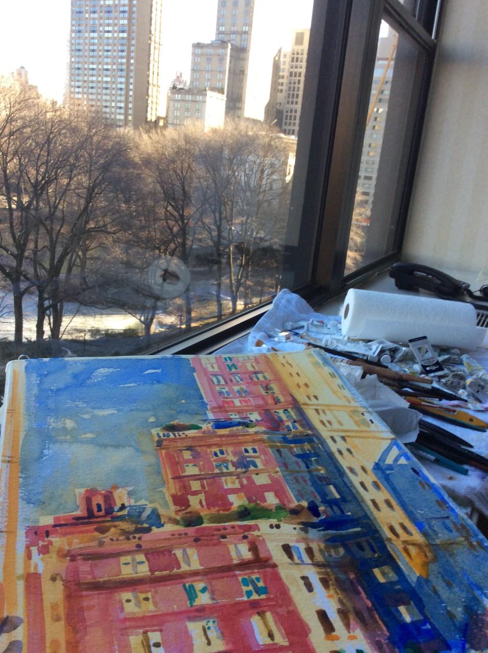 New York Windows - sneak peak at a watercolourin progress!