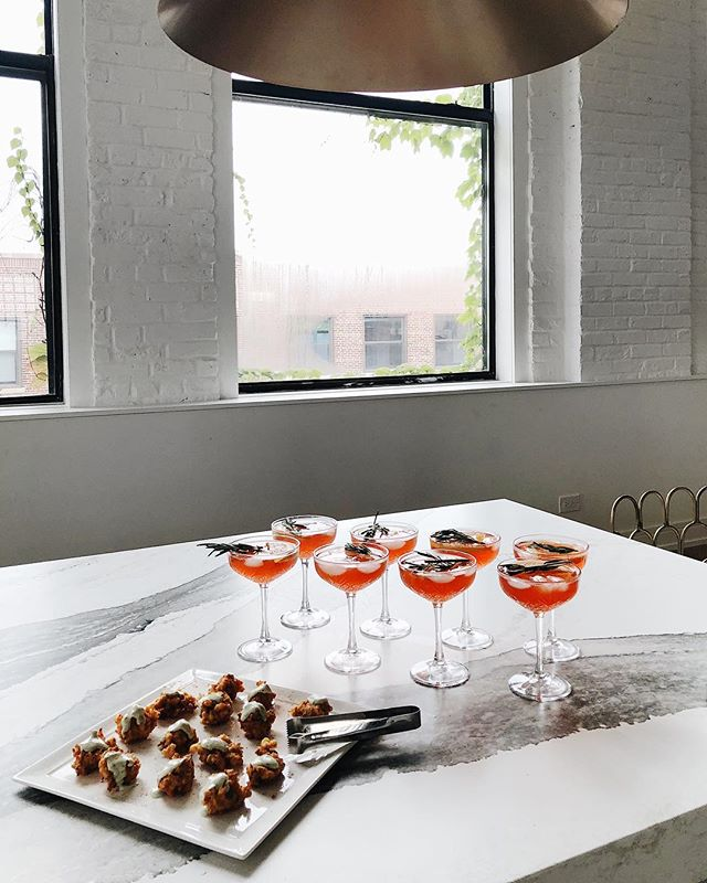 Delicious appetizers prepared by @thechefjon of @monogramappliances and beautiful cocktails hand-crafted by @johnstoffer for last night's launch party. 🥂