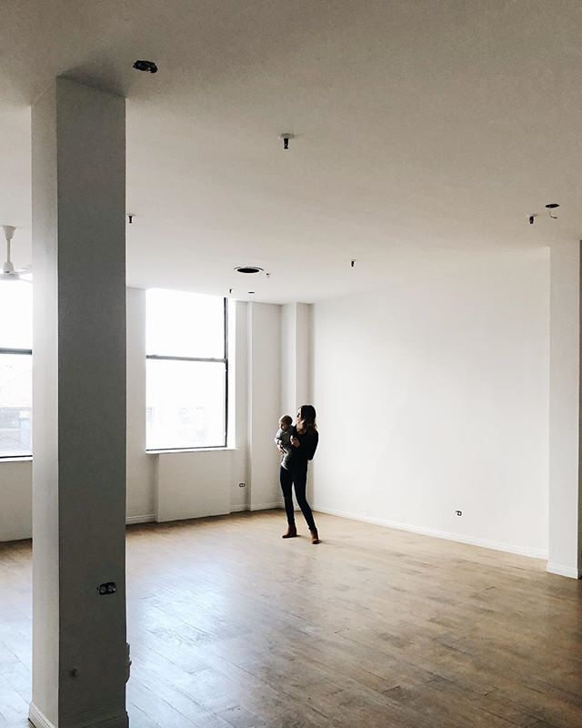 The day we signed our lease. 🖤 Those dropped ceilings had to go.