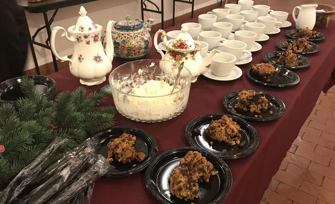Plum pudding, hard sauce, Prince of Wales tea, cookies, cucumber sandwiches, mince pies, and punch are part of intermission treats.