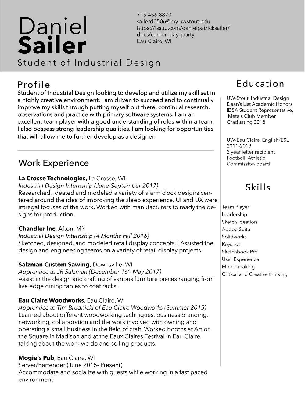 Resume Daniel Sailer
