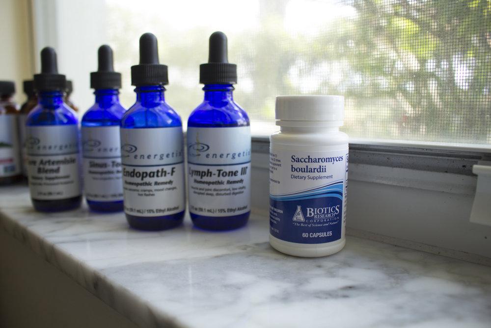 From blur to clear: Ashwagandha, Triphala, Core Artimisia Blend, Sinus-Tone, Endopath-F, Lymph-Tone III, and my new probiotic Saccharmoyces boulardii .