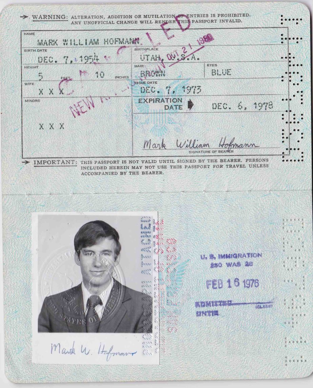 Mark Hofmann's passport