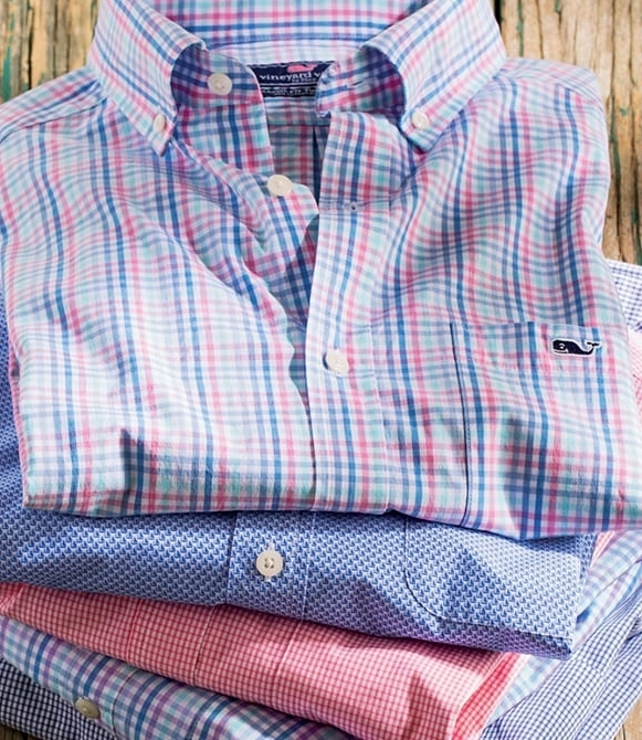 VINYARD VINES  Vintage prep look for all seasons—patterned sport shirts, polos, t-shirts, shorts, pants, 1/4 –zip pullovers, swim. Plus the VV signature ties, along with belts, boxers, hats