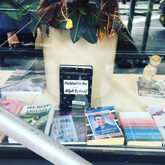 Thank you @chase (West Village) for putting #foldednotesfromhighschool in your window & so cool that we are next to @bravoandy 's book #mosttalkative ... . . . #authorsofinstagram #highschool #penguin #80s #90s #book #comedy #clinicalnostalgia #newengland #massachusetts #ya #yabooks #prom #grease #musicals #supercouple #soapopera