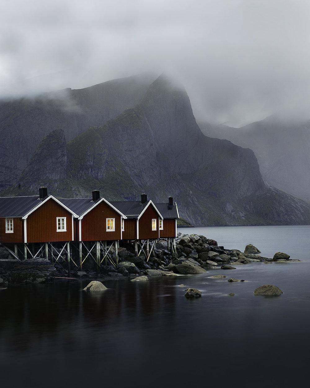Lofoten Islands red cabins Norway
