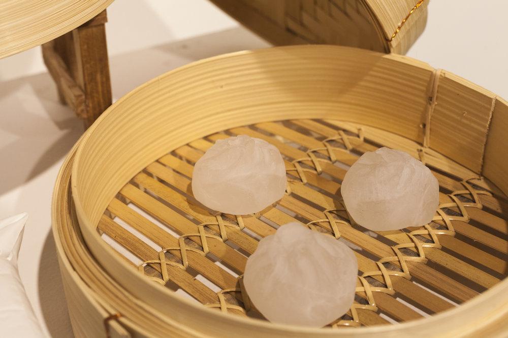 A Day's Work Of Labor and Love: Xiaolong Bao (2/2)   2017 hot sculpted glass dumplings, found bamboo steamer, plaster pillow