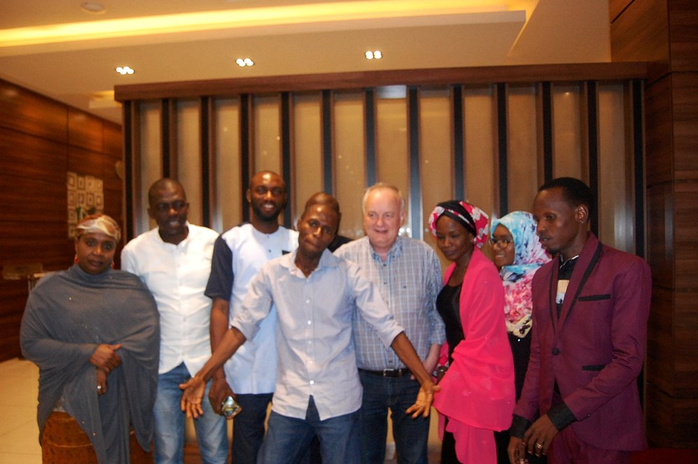 From left to right:  Maryam Muhammad, Gad Peter Shamaki, Friday Okee, Jameel Ahmad ZUbair, Samuel Compton, Halima Abba Ibrahim, Fatima Turaki Ibrahim and Muhammad Adam.
