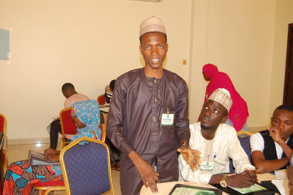 Aminu Dahiru Abubakar from Kaduna state answering a question during the workshop.