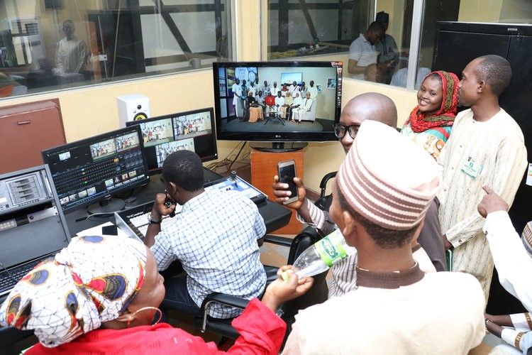 Participants on a visit to Arewa24 studio.