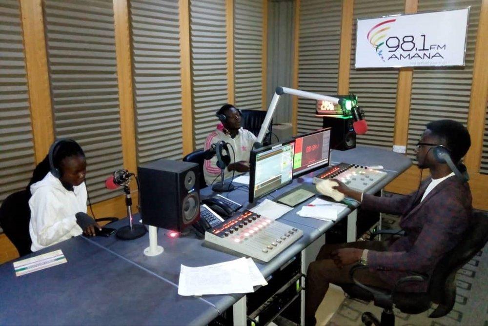 Mark Nuhu Mabudi while in the studio at Amana FM Gombe