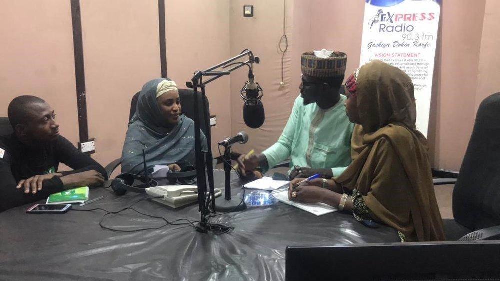 Adamu, Khadija, Hadiza and the presenter of Madubin Ilimi Program.
