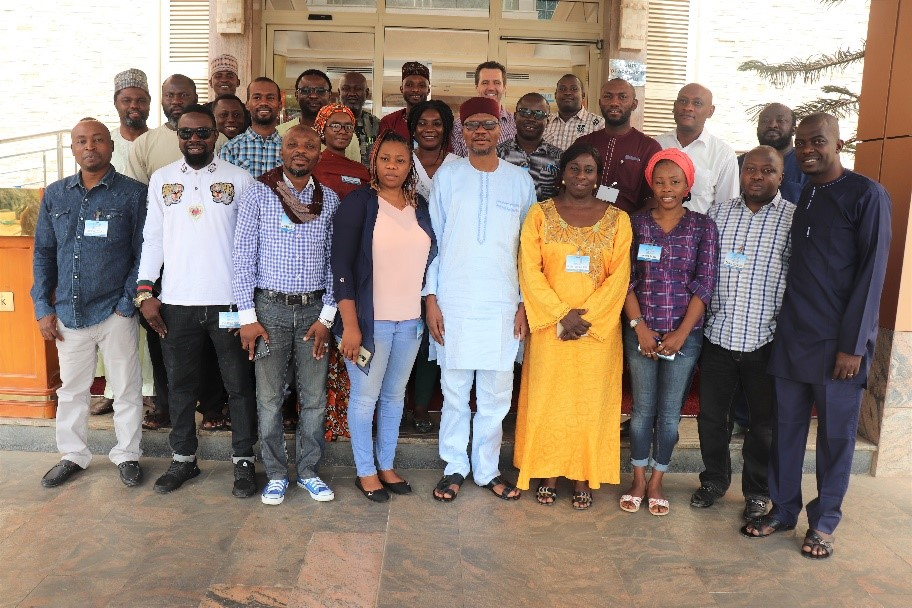 Kole Shettima (MacArthur Foundation), Equal Access-Nigeria team with participants of anti-corruption film production Workshop in Abuja