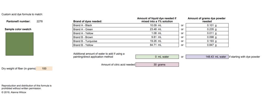 Sample formula - Click to enlarge
