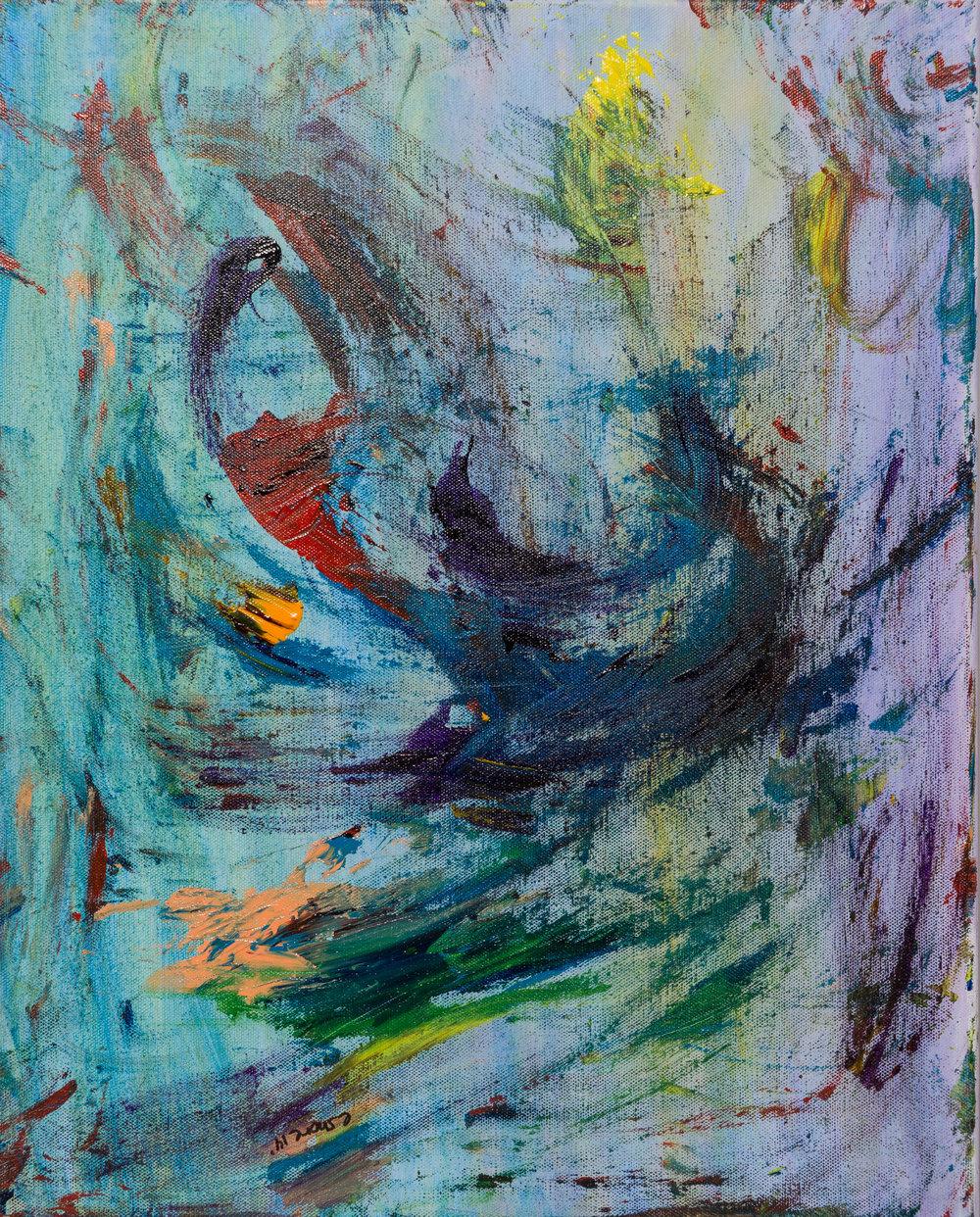 "the swirl, acrylic paint, 16"" x 20"" (2014)"