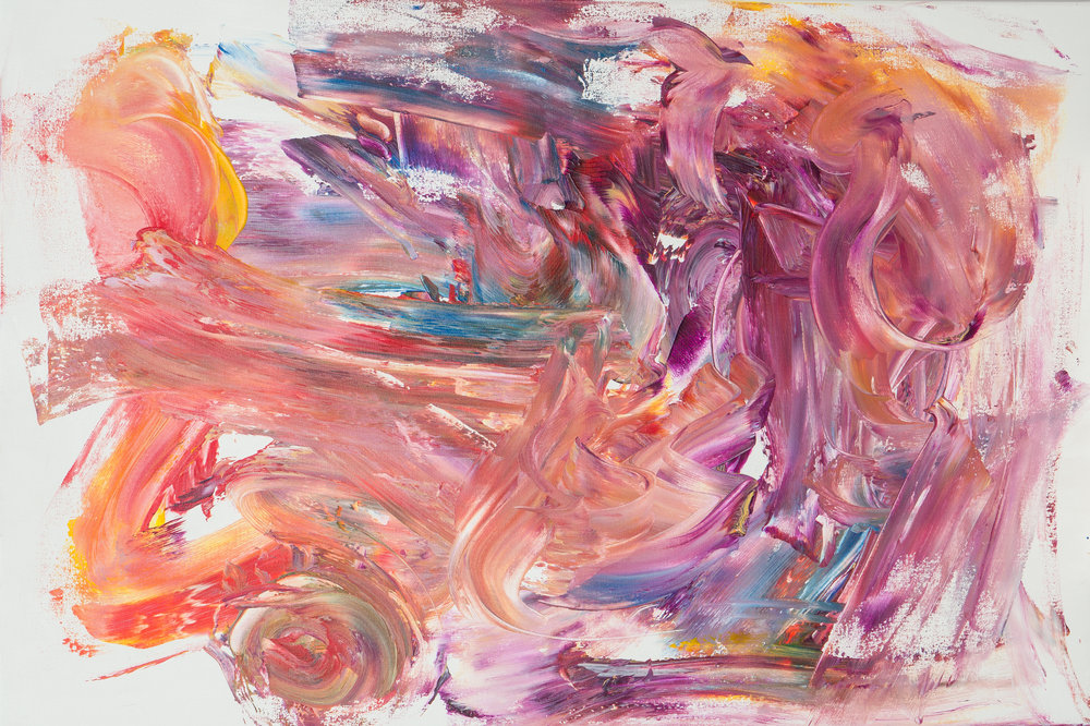 "bliss, acrylic paint, 24"" x 36"" (2017)"
