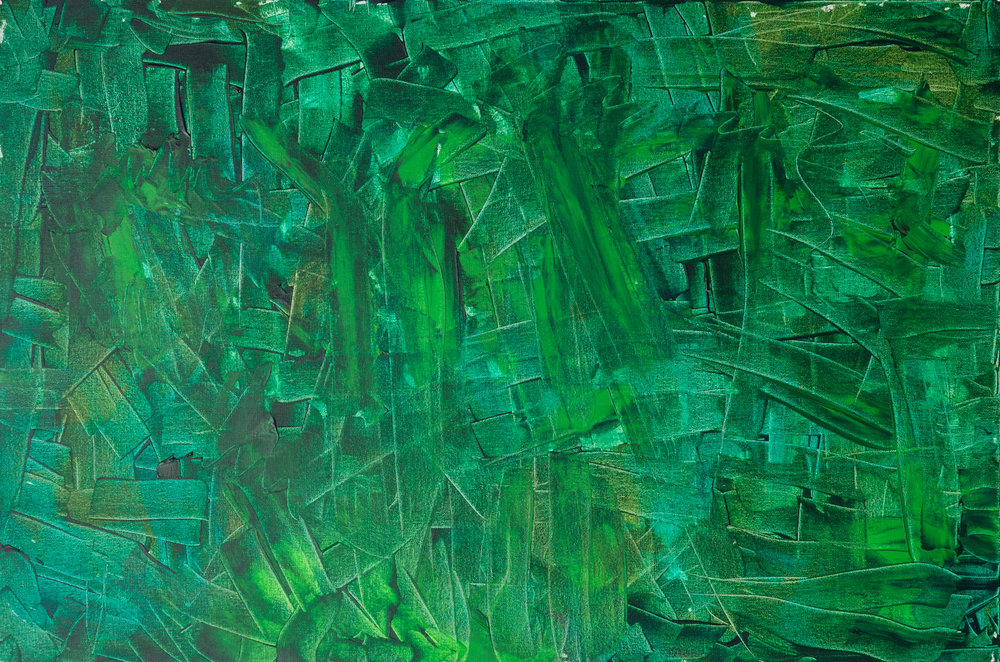 """the grass is greener on the other side, acrylic paint, 24"""" x 36"""" (2017)"""
