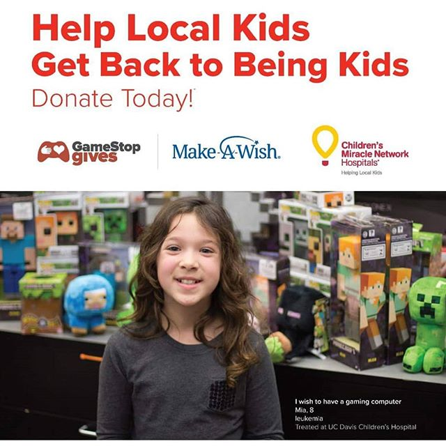 Are you headed to GameStop this month? Make sure to let them know you would like to round up your purchase as a donation to GameStop Gives. Donations made this month will be split between the stores local Children's Miracle Network Hospital and the Make A Wish Foundation.
