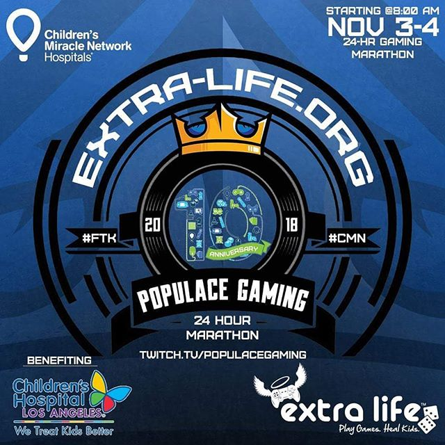 SET YOUR CALENDARS! SET YOUR WATCHES! Your Populace Gaming team will be doing its annual 24hr Gaming Marathon to help Extra Life and Children's Hospital Los Angeles!! We will have amazing give a ways, surprise guests, and plenty of community games so that you all can get into the mix! Follow us here and on Twitch.tv/PopulaceGaming or @PopulaceGaming on Twitter for all the new information pertaining to the marathon.