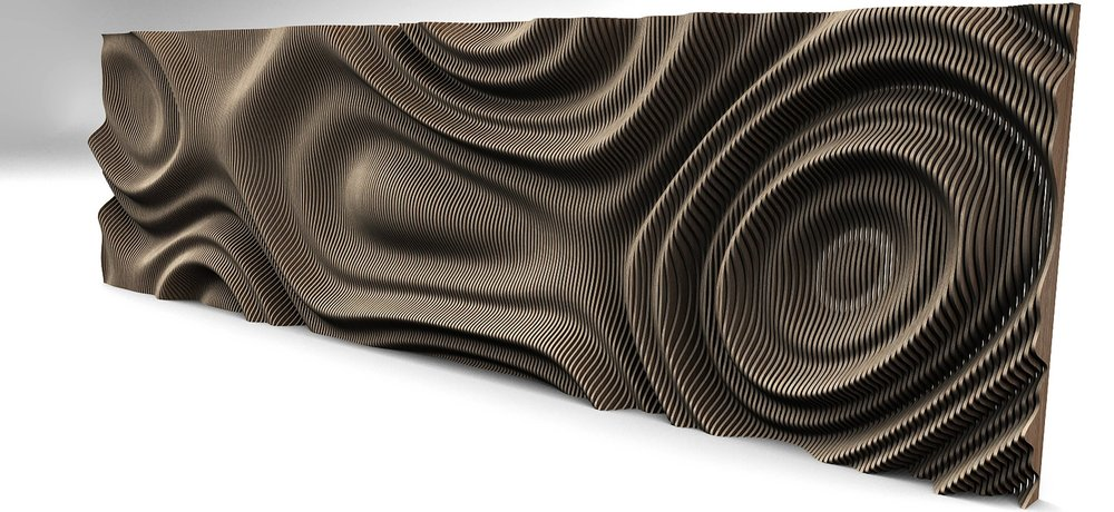 An example output of a parametric definition; this wall fixture was produced by manipulating a flat surface using the code to the left, creating a rippling, wave-like pattern