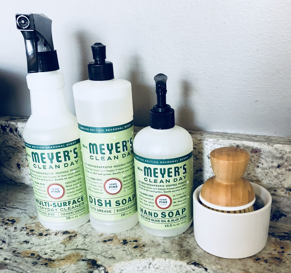 Iowa Pine is a holiday edition of Mrs. Meyer's cleaning products. I was able to pre-order this set at a discount. The scrub brush is the one I received as a free a gift. Both are perks of being a Grove Co. VIP Member!