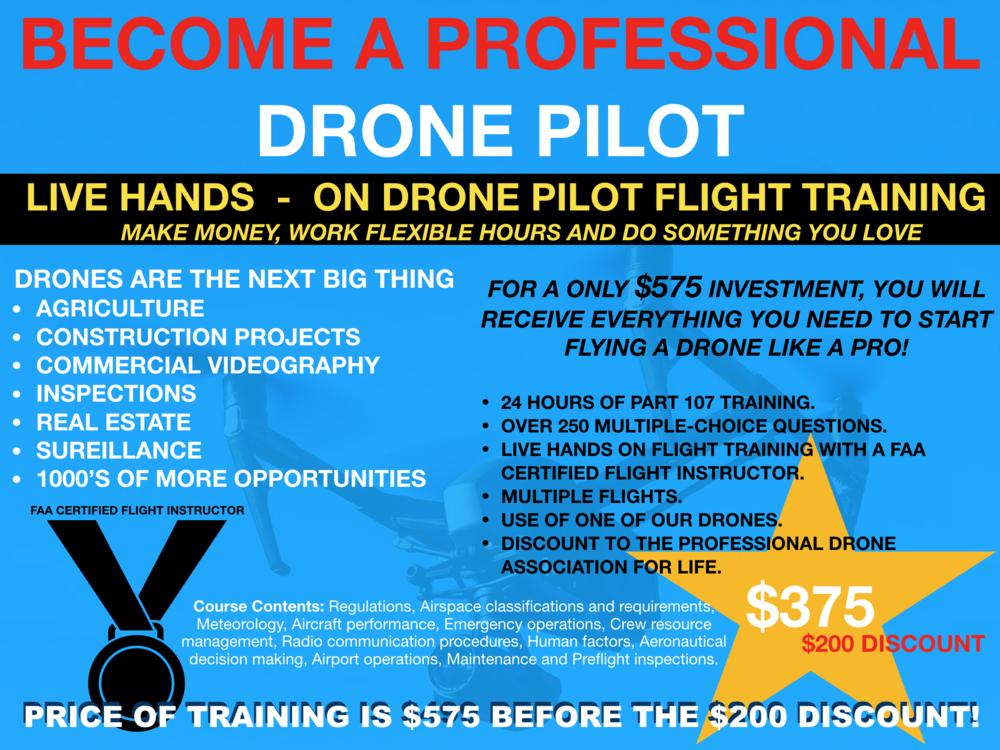 BECOME A PROFESSIONAL DRONE PILOT PROGRAM:  This program is a live and online program valued at over $2,400.00. It's the only program that has a FAA Certified Flight Instructor.