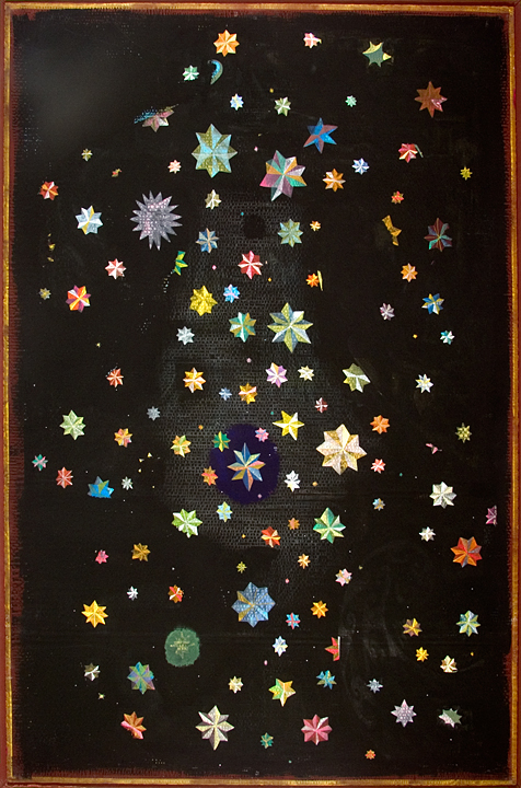 64. Double Constellation 78 x 54 Acrylic on Board