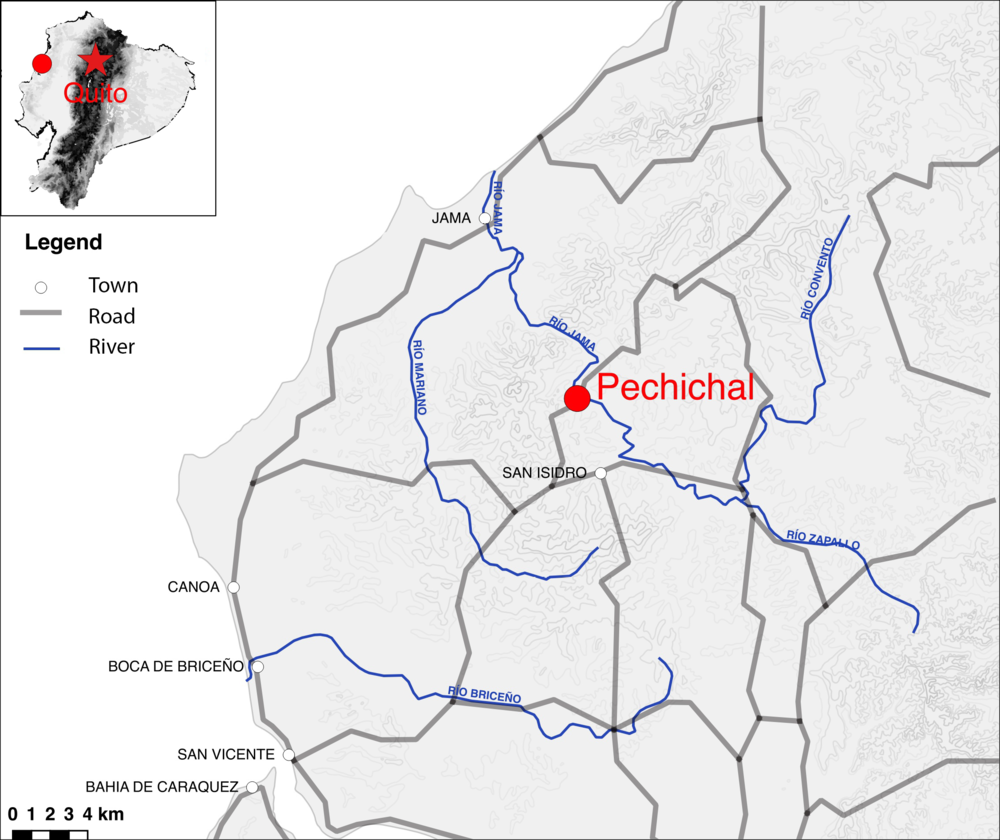 Map of Pechichal community in reference to Ecuador and nearby towns.
