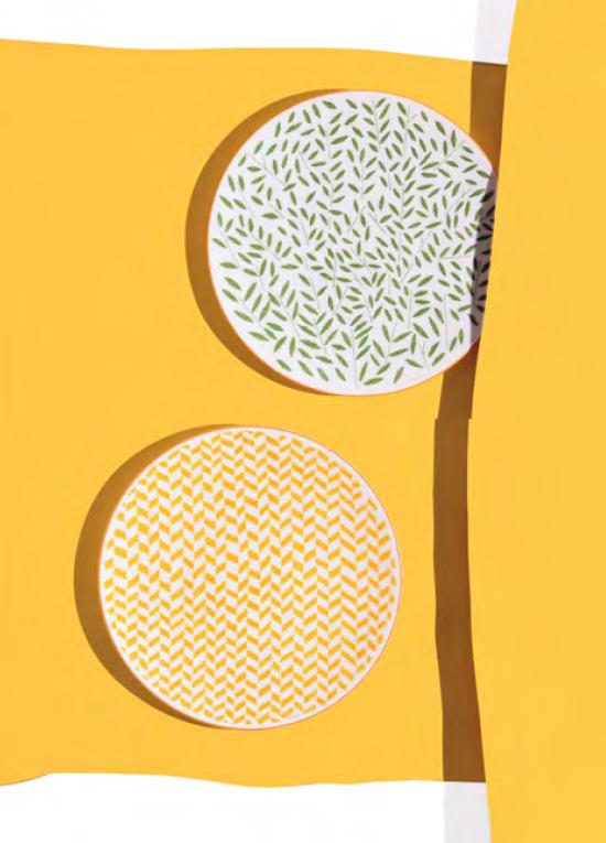 Nová kolekce porcelánu Hermés. Prim hrají zářivá oranžová, listová zeleň, pryskyřníková žluť a berlínská modř.