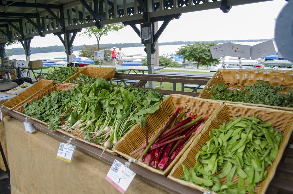 Local produce sits on display at the Culver Farmers' Market.