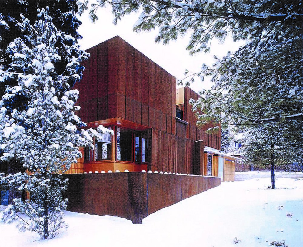 Weathering Steel House Exterior Front Yard Winter