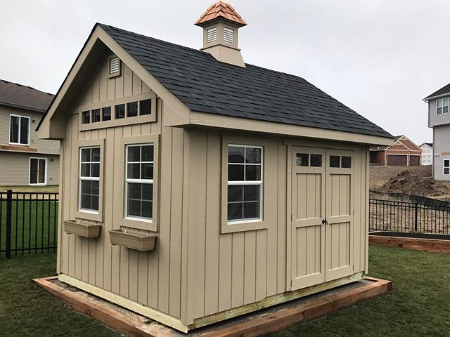 """Repeat customers are our favorite! This 10x12x10 Gable Deluxe 12"""" Overhang starts at $4,370 and you can customize your building with options to meet your needs.  Our Spring Options Sale ends May 1st. #customsheds #minnesota #wisconsin #backyard"""