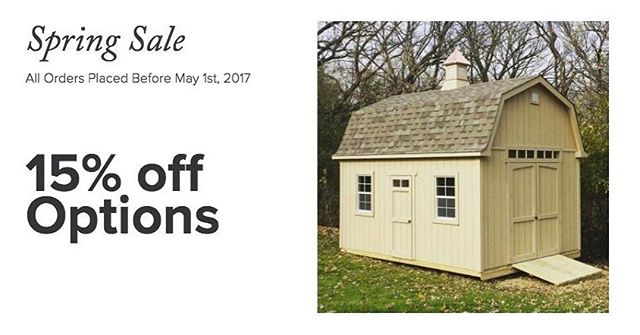 Our Spring Sale kicks off today through May 1st!  Place an order online (link in bio) or give us a call at 651-738-SHED.  #customsheds #minnesota #wisconsin