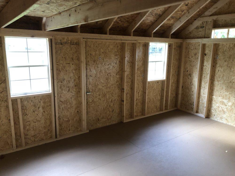 "Interior 12x16x12'-6"" Gable Deluxe"