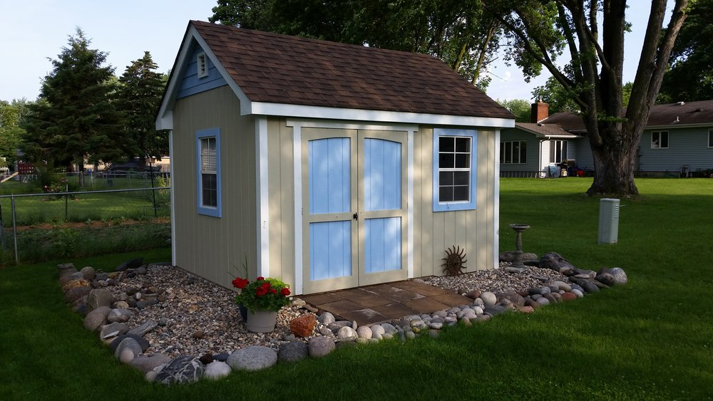 10x12 Gable Deluxe Painted Landscaped Blue.JPG