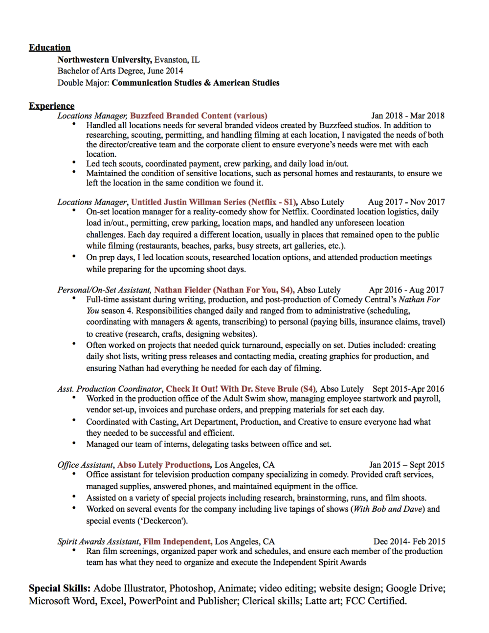 Resume — Bridget Illing