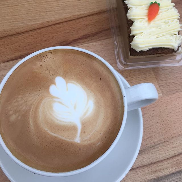 Latte and carrot cake a delicious combination. To celebrate the arrival of their new Staffordshire ceramic cups Pippins are continuing their £4 coffee and cake deal and carrot cake is included! Yummy!