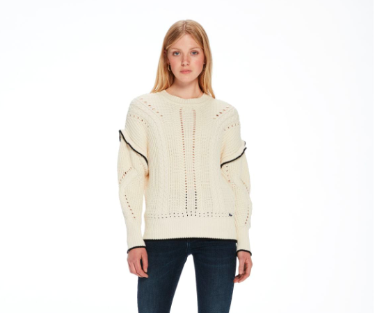 Scotch & Soda  Ruffle Cable Knit Sweater, Sale Price: $130