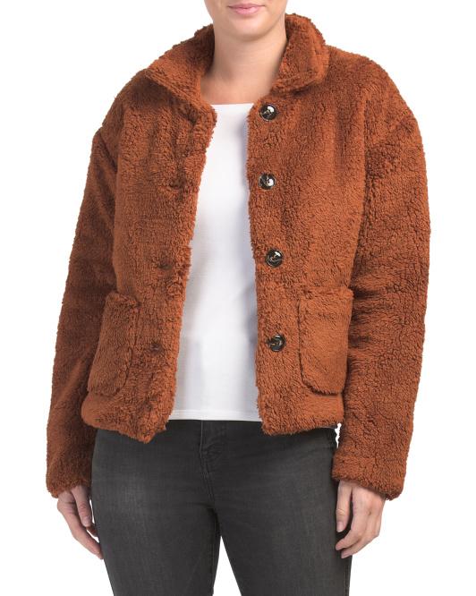 FEW MODA   Plush Teddy Bear Jacket, Sale Price: $49.99