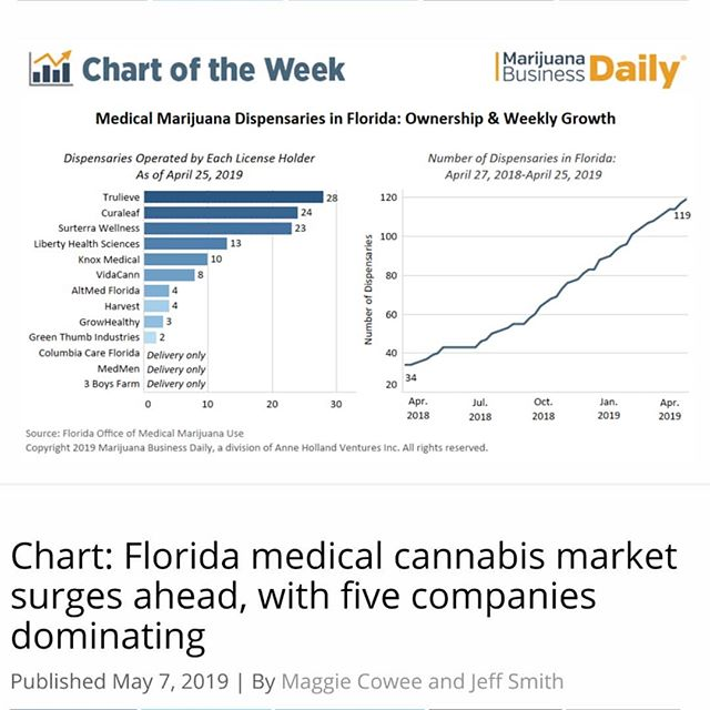 Florida's medical marijuana market is booming, with an average of nearly two dispensaries opening each week across the state. - The number of enrolled patients recently zipped past the 200,000 mark with more than 10,000 new patients signing up each week. - For the time being, the five dominant companies have been busy leading the way by opening new dispensaries across #Florida's vast expanse. - Overall, Florida license holders opened 85 dispensaries in the 52 weeks between April 18, 2018, and April 19, 2019, equivalent to an average of 1.6 dispensaries a week. - The pace has accelerated so far in 2019, with 31 #dispensaries opening in the first 16 weeks of the year alone, or practically two dispensaries a week. - The five dominant players are (current number of dispensaries, % of total dispensaries in state): - Trulieve, 28 (23.5%) Curaleaf, 24 (20.2%) Surterra Wellness, 23 (19.3%) Liberty Health Sciences, 13 (10.9%) Knox Medical, 10 (8.4%) - Cont. In Comments 🌲🌲🔥🔥💨💨 #Beardbros_Pharms #BeardBrosMedia #BBMedia #CannabisNews #losangeles #la #california #cannabiscommunity #cannabis #marijuana #real #life #weshouldsmoke