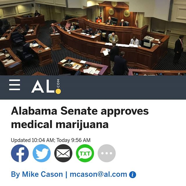 "#Alabama!!!! --------------- The Alabama Senate hurriedly passed a bill this morning to allow medical marijuana. - The Senate voted 17-6 for the bill, sponsored by Sen. Tim Melson, R-Florence, an #anesthesiologist and #medical #researcher. - The #Senate took the vote shortly after saying the Pledge of Allegiance to start the day. There was no discussion of the bill before the vote. - The Senate discussed the bill on Wednesday but delayed a vote. - The bill moves to the House of Representatives. Melson said Alabama would be the 34th state to adopt medical marijuana. - Melson said he believes #medical marijuana offers potential help for people who haven't gotten help from available #treatment options and said it could help reduce reliance on #opioids. - Melson said the bill includes sufficient ""gatekeepers"" to prevent abuse of medical marijuana. One example is that a patient would need a recommendation from a doctor that would have to be confirmed by a second doctor. 🌲🌲🔥🔥💨💨 #Beardbros_Pharms #BeardBrosMedia #BBMedia #CannabisNews #losangeles #la #california #cannabiscommunity #cannabis #marijuana #real #life #weshouldsmoke"